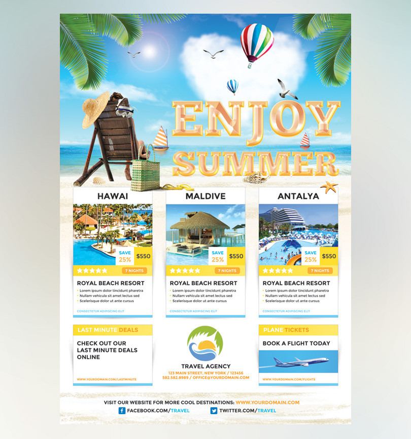 Free travel agency flyer designs for Templating agent